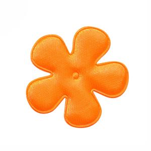 Applicatie bloem NEON oranje satijn effen middel 35 mm (ca. 100 stuks)