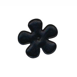 Applicatie bloem zwart satijn effen klein 25 mm (ca. 100 stuks)