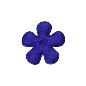 Applicatie bloem kobalt blauw satijn effen klein 25 mm (ca. 100 stuks)