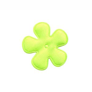 Applicatie bloem NEON geel/groen satijn effen klein 25 mm (ca. 100 stuks)