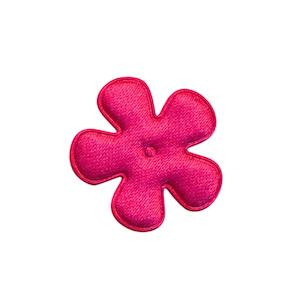 Applicatie bloem fuchsia satijn effen klein 25 mm (ca. 100 stuks)