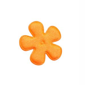 Applicatie bloem NEON oranje satijn effen klein 25 mm (ca. 100 stuks)