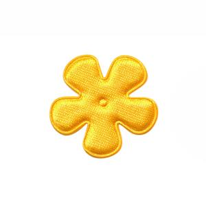 Applicatie bloem warm geel satijn effen klein 25 mm (ca. 100 stuks)