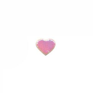 Applicatie glim hart wit/roze mini 12x10 mm (ca. 100 stuks)
