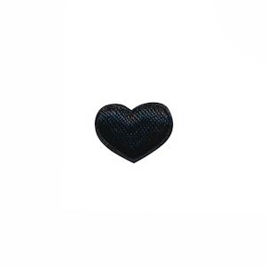 Applicatie hart zwart satijn effen mini 15x12 mm (ca. 100 stuks)