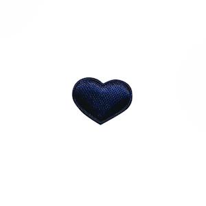 Applicatie hart donker blauw satijn effen mini 15x12 mm (ca. 100 stuks)