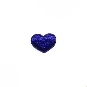 Applicatie hart kobalt blauw satijn effen mini 15x12 mm (ca. 100 stuks)