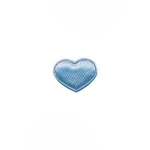 Applicatie hart licht blauw satijn effen mini 15x12 mm (ca. 100 stuks)