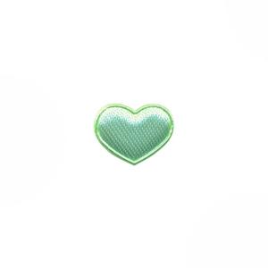 Applicatie hart mintgroen satijn effen mini 15x12 mm (ca. 100 stuks)