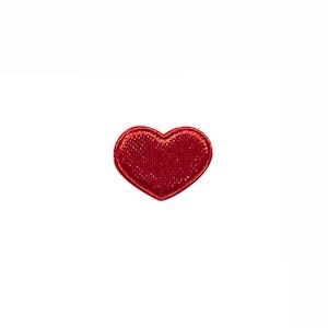 Applicatie hart rood satijn effen mini 15x12 mm (ca. 100 stuks)