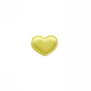 Applicatie hart geel satijn effen mini 15x12 mm (ca. 100 stuks)