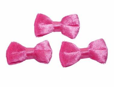 Strik fluweel roze (10 stuks)