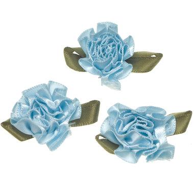 Roosje satijn blauw op blad 25 x 30 mm (ca. 100 stuks)
