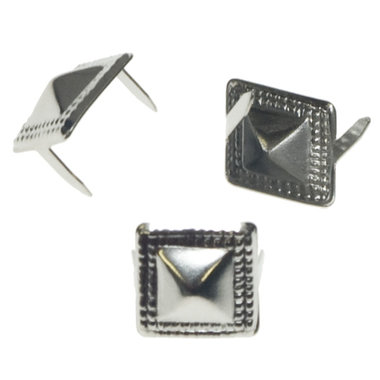 Vierkante stud met sierrandje zilverkleurig 10 mm (ca. 100 stuks)