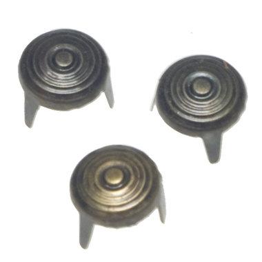 Ronde stud bronskleurig met relief 11 mm (ca. 100 stuks)