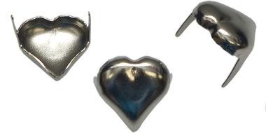 Hartvormige stud zilverkleurig 12 x 12 mm (ca. 100 stuks)
