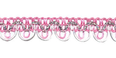 2-kleurig schulpband roze-wit met zilverdraad 15 mm (ca. 16 meter)