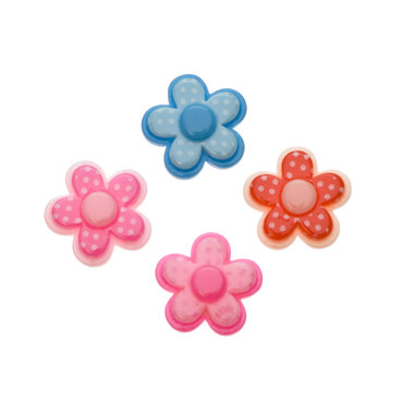 Flatback gestippeld bloemetje MIX kleuren 18 mm (100 stuks)
