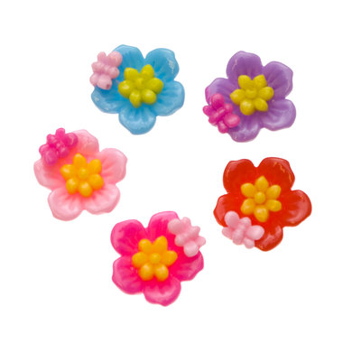 Flatback bloem met vlindertje MIX kleuren 20 mm (100 stuks)