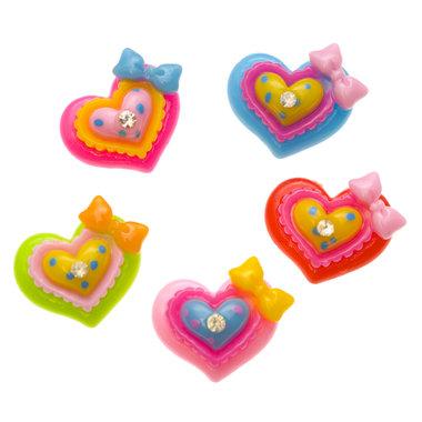 Flatback hart met strikje en strass MIX kleuren 22x22 mm (100 stuks)