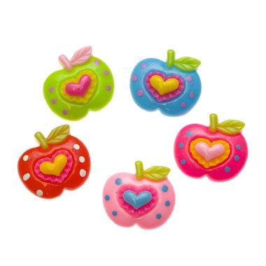 Flatback appel met hartje MIX kleuren 28x25 mm (100 stuks)