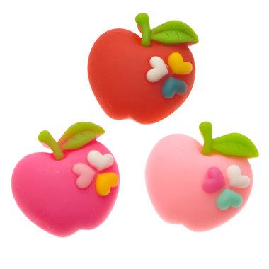 Flatback appel (niet glanzend) met hartjes MIX kleuren 27x27 mm (100 stuks)