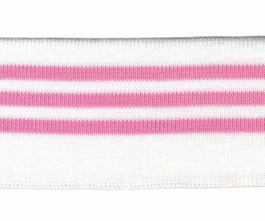 Boord wit met roze streepjes ca. 62 cm (6 stuks)