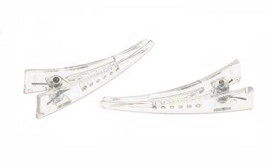 Kunststof alligatorknip doorzichtig 6,5 cm  (10 stuks)