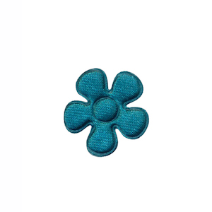 Applicatie bloem donker petrol satijn effen klein 20 mm (ca. 100 stuks)