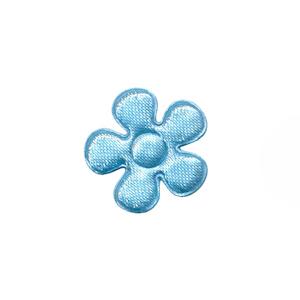 Applicatie bloem licht blauw satijn effen klein 20 mm (ca. 100 stuks)