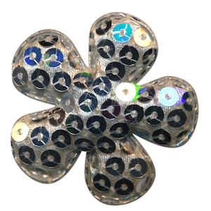 Applicatie pailletten bloem zilver groot 50 mm (ca. 100 stuks)