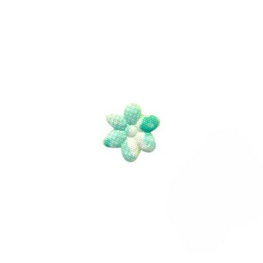 Applicatie bloem wit/groen bloemenprintje mini 10 mm (ca. 100 stuks)