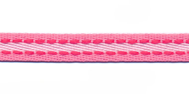 Roze-wit met fuchsia stiksel grosgrain band 10 mm (ca. 25 m)
