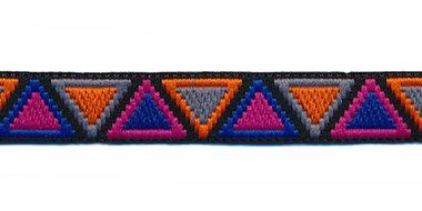 Sierband Ibiza stijl zwart-grijs-oranje-fuchsia-kobalt blauw 12 mm (ca. 22 m)