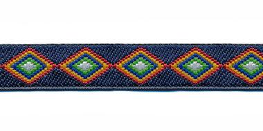 Sierband denim stijl wyber blauw-rood-geel-blauw-groen-wit 12 mm (ca. 22 m)