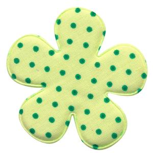 Applicatie bloem licht groen met groene stip groot 47 mm (ca. 100 stuks)
