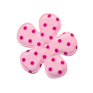 Applicatie bloem roze met fuchsia stip katoen middel 35 mm (ca. 100 stuks)