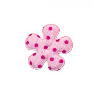 Applicatie bloem roze met fuchsia stip katoen klein 25 mm (ca. 100 stuks)