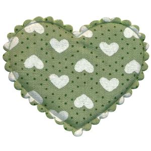 Applicatie hart groen met stipjes en witte hartjes groot 45 x 40 mm (ca. 100 stuks)