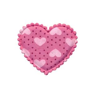 Applicatie hart roze met stipjes en lichtroze hartjes middel 30 x 25 mm (ca. 100 stuks)