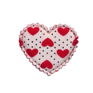Applicatie hart wit met stipjes en rode hartjes middel 30 x 25 mm (ca. 100 stuks)