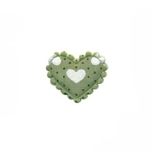 Applicatie hart groen met stipjes en witte hartjes klein 20 x 17 mm (ca. 100 stuks)