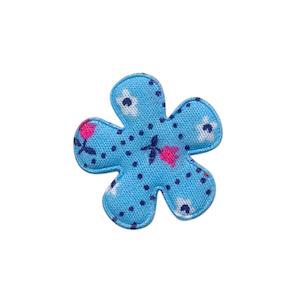 Applicatie bloem blauw met tulpjes klein 25 mm (ca. 100 stuks)