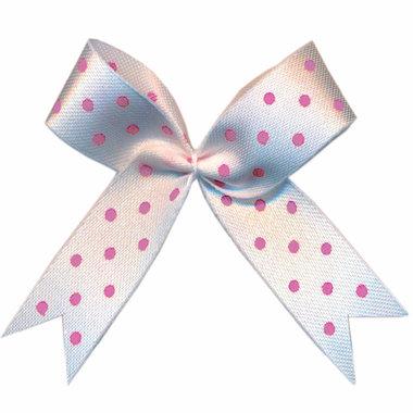 Satijnen strik wit met roze stip 40x45 mm (ca. 100 stuks)