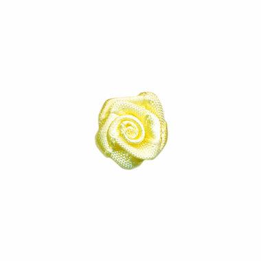 Roosje satijn zacht geel 15 mm (ca. 25 stuks)