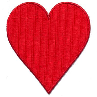 Opstrijkbare applicatie rood hart (5 stuks)