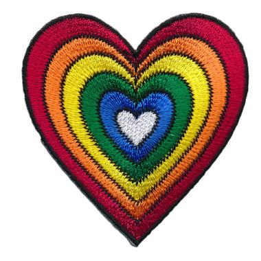 Opstrijkbare applicatie regenboog hart (5 stuks)