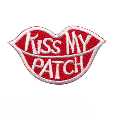 Opstrijkbare applicatie mond 'kiss my patch' (5 stuks)