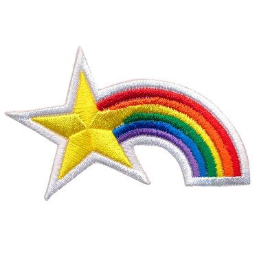 Opstrijkbare applicatie regenboog met ster (5 stuks)