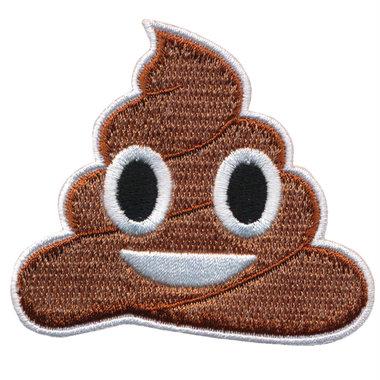 Opstrijkbare applicatie vrolijke drol emoji (5 stuks)